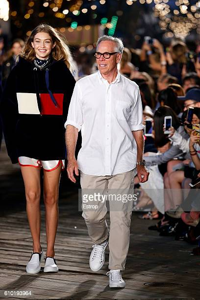 Designer Tommy Hilfiger walks the runway at the Tommy Hilfiger Women's show at Pier 19 on September 9 2016 in New York City