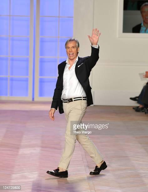 Designer Tommy Hilfiger walks the runway at Tommy Hilfiger Spring 2012 Women's Collection on the runway at The Theater at Lincoln Center on September...