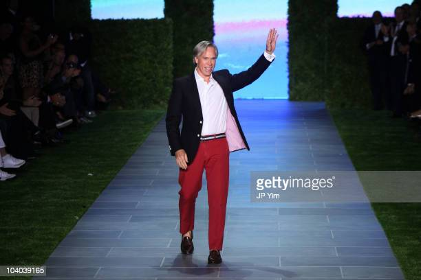 Designer Tommy Hilfiger waves to the audience after his Tommy Hilfiger Spring 2011 fashion show during Mercedes-Benz Fashion Week at The Theater at...