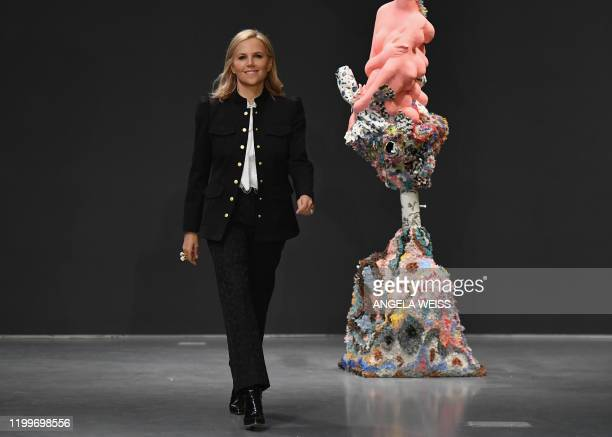 Designer Tory Burch greets guests at her show during New York Fashion Week: The Shows at Sotheby's on February 9, 2020 in New York City.