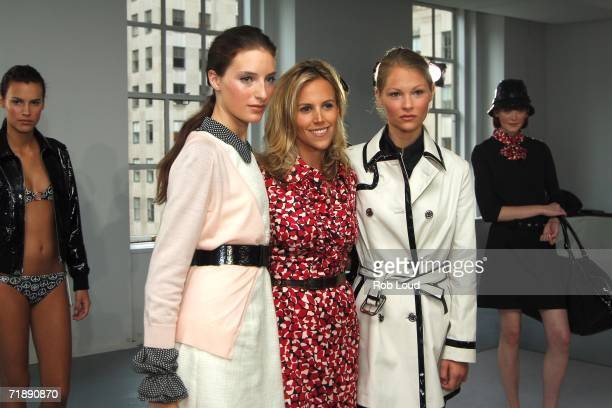 Designer Tory Burch posing with models on the runway at the Tory Burch Spring 2007 presentation during Olympus Fashion Week at Channel Gardens...
