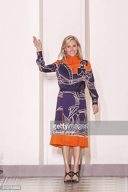 Designer Tory Burch walks the runway during the Tory Burch fashion show at David Geffen Hall on February 16 2016 in New York City