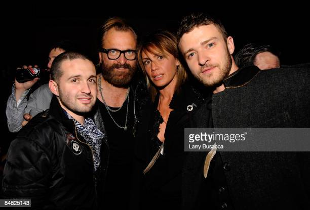 Designer Trace Ayala designer Johan Lindeberg Marcella Lindeberg and singer Justin Timberlake attend the after party for the William Rast Fall 2009...