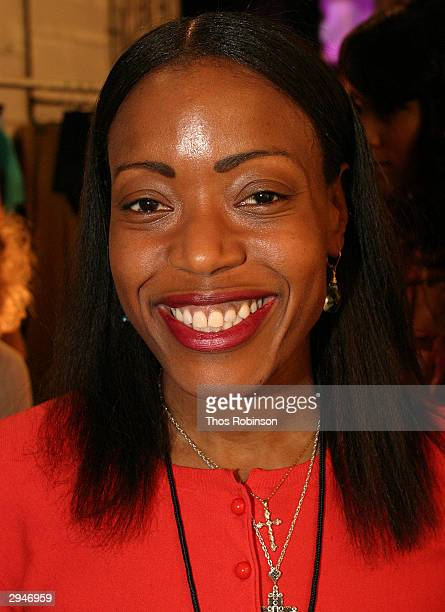 Designer Tracy Reese pose sbackstage during Olympus Fashion Week at Bryant Park February 8 2004 in New York City