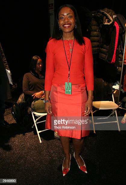 Designer Tracy Reese poses backstage during Olympus Fashion Week at Bryant Park February 8 2004 in New York City