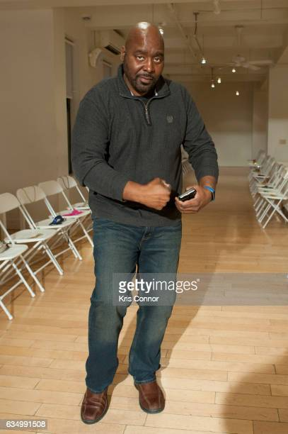 Designer Travis Hamilton attends the Negris Lebrum fashion show during New York Fashion Week at Studio Arte on February 12 2017 in New York City