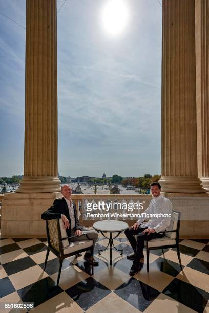 Designer Tristan Auer and the head of the Brasserie d'Aumont, Justin Schmitt are photographed on the terrace of the Crillon Hotel for Madame Figaro...