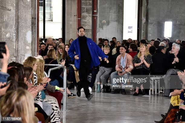 Designer Tuomas Merikoski acknowledges the audience during the Aalto show as part of Paris Fashion Week Womenswear Fall/Winter 2019/2020 on February...