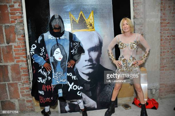 Designer Tyce and artist Karen Bystedt attend Karen Bystedt's 'Kings And Queens' exhibition on March 9 2017 in Los Angeles California