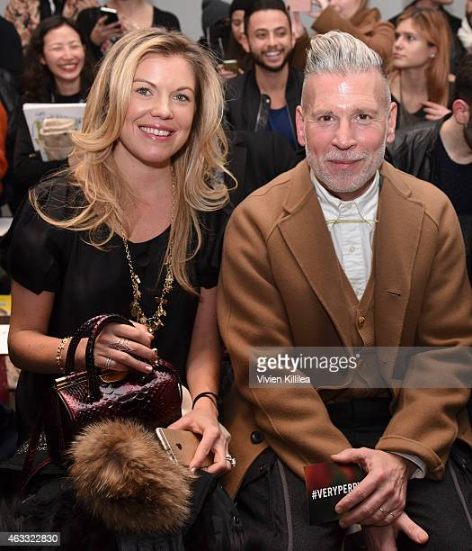 Designer Tyler Ellis and Nick Wooster attend the Perry Ellis show during MercedesBenz Fashion Week Fall 2015 at Metropolitan West on February 12 2015...