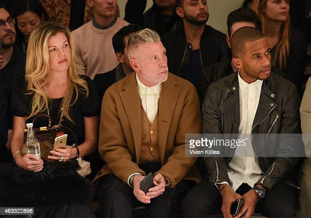 Designer Tyler Ellis Nick Wooster and actor Eric West attend the Perry Ellis show during MercedesBenz Fashion Week Fall 2015 at Metropolitan West on...