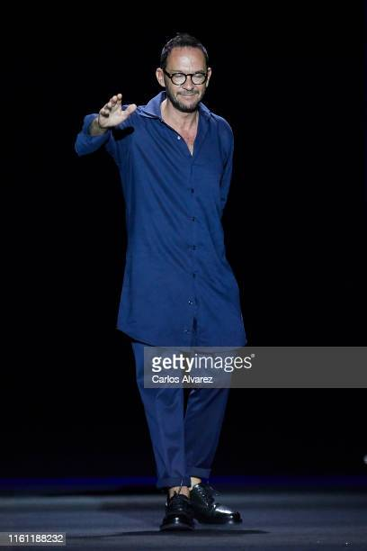 Designer Ulises Merida walks the runway at the Ulises Merida fashion show during the Mercedes Benz Fashion Week Spring/Summer 2020 at Ifema on July...