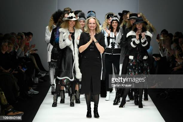 Designer Ulli Ehrlich acknowledges the applause of the audience after the Sportalm Kitzbuehel show during the Berlin Fashion Week Autumn/Winter 2019...