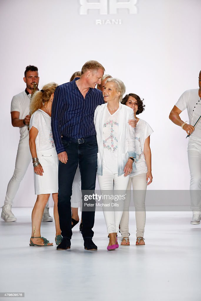Designer Ulrich Schulte and group of models walk the runway at the Riani show during the Mercedes-Benz Fashion Week Berlin Spring/Summer 2016 at Brandenburg Gate on July 7, 2015 in Berlin, Germany.