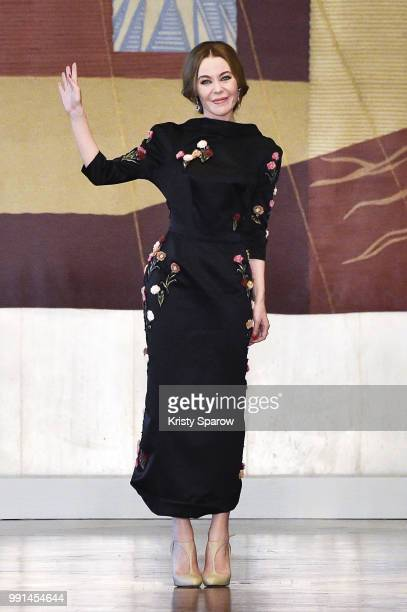 Designer Ulyana Sergeenko acknowledges the audience during the Ulyana Sergeenko Haute Couture Fall Winter 2018/2019 show as part of Paris Fashion...