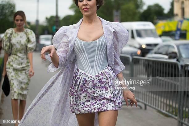 Designer Ulyana Sergeenko at the Giambattista Valli show at Grand Palais on July 4 2016 in Paris France