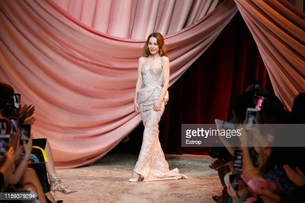 Designer Ulyana Sergeenko at the Ulyana Sergeenko show during Paris Haute Couture Fall/Winter 2019/2020 on July 1 2019 in Paris France
