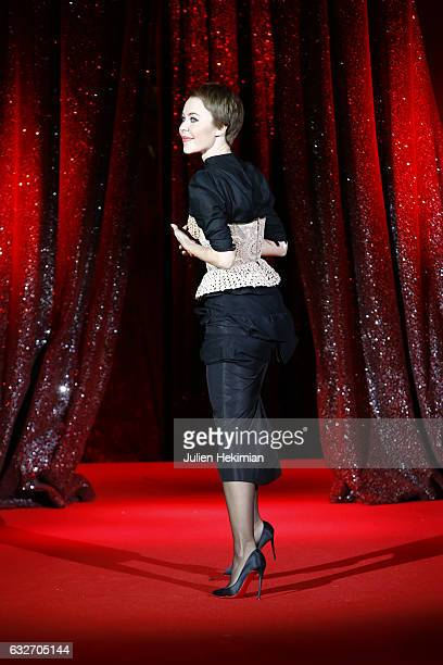 Designer Ulyana Sergeenko steps out on the runway after the Ulyana Sergeenko Spring Summer 2017 show as part of Paris Fashion Week on January 25 2017...