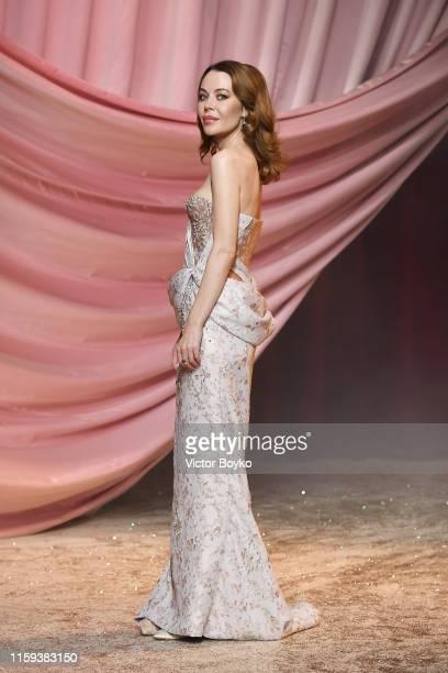 Designer Ulyana Sergeenko walks the runway after the Ulyana Sergeenko Haute Couture Fall/Winter 2019 2020 show as part of Paris Fashion Week on July...