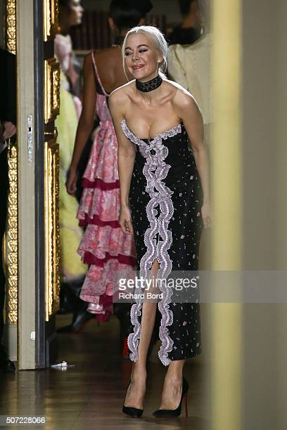 Designer Ulyana Sergeenko walks the runway during the Ulyana Sergeenko Spring Summer 2016 show as part of Paris Fashion Week on January 27 2016 in...