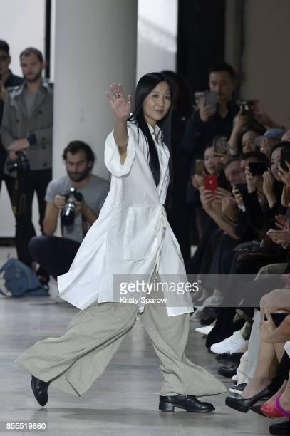 94bcb2e3ba5 Designer Uma Wang acknowledges the audience during the Uma Wang show as  part of Paris Fashion