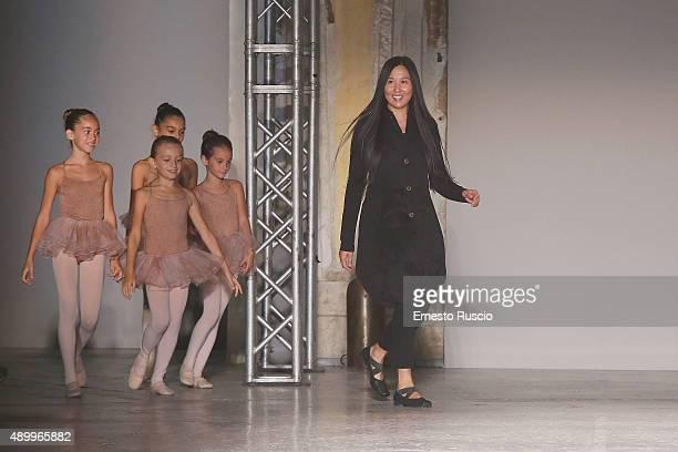fb2ce3ebeae Designer Uma Wang walks the runway during the Uma Wang fashion show as part  of Milan