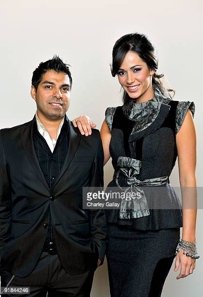 Designer Uriel Saenz and fashion muse Catalina Lopez pose for a portrait at Fashion Group International of Los Angeles' Meet The Designers at the...