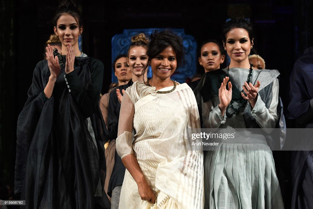Designer Vaishali Shadangule (C) walks in the finale of the Vaishali S presentation at New York Fashion Week Powered by Art Hearts Fashion NYFW at The Angel Orensanz Foundation on February 8, 2018 in New York City.