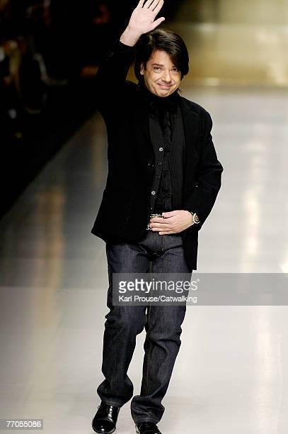 Designer Valentin Yudashkin walks down the catwalk during the Valentin Yudashkin show as part of Milan Fashion Week Spring Summer 2008 on September...