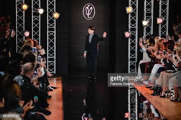 Designer Valentin Yudashkin walks the runway after the Valentin Yudashkin show as part of the Paris Fashion Week Womenswear Spring/Summer 2016 on...
