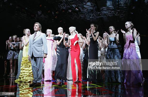 Designer Valentino among his Models on the catwalk at the Valentino fashion show during the Spring/Summer 2008 Paris Fashion Week on October 3rd,...