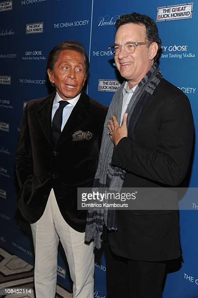 Designer Valentino and actor Tom Hanks attend The Cinema Society and Brooks Brothers screening of The Great Buck Howard at the Tribeca Grand...