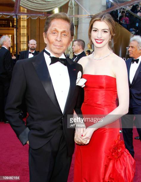 Designer Valentino and actress Anne Hathaway arrive at the 83rd Annual Academy Awards held at the Kodak Theatre on February 27 2011 in Hollywood...