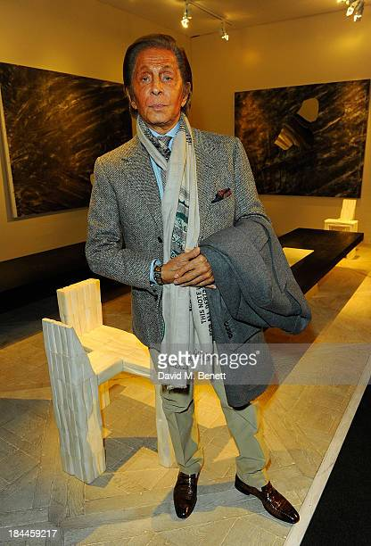 Designer Valentino attends the Moet Hennessy London Prize Jury Visit during the PAD London Art Design Fair at Berkeley Square Gardens on October 14...
