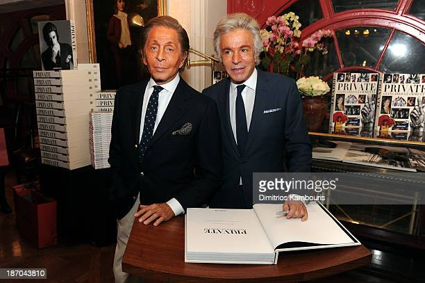 Designer Valentino Garavani and Giancarlo Giammetti attend a book signing for Giancarlo Giammetti's Autobiography 'Private Giancarlo Giammetti'...