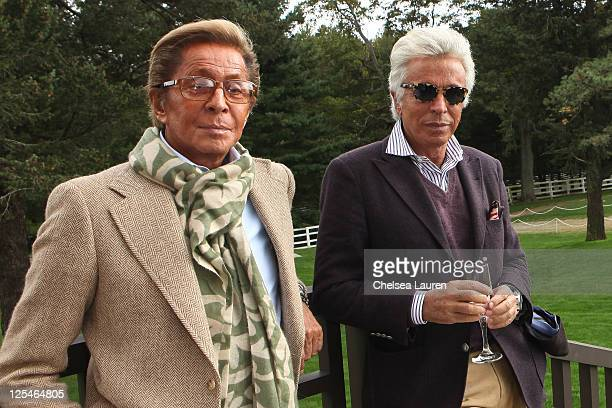 Designer Valentino Garavani and Giancarlo Giammetti attend the St Regis 1904 Polo Cup at Greenwich Polo Club on September 17 2011 in Greenwich...
