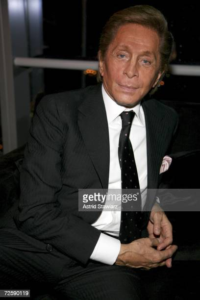 """Designer Valentino Garavani celebrates the launch of his """"Rock'n Rose"""" Fragrance on November 16, 2006 in New York City."""