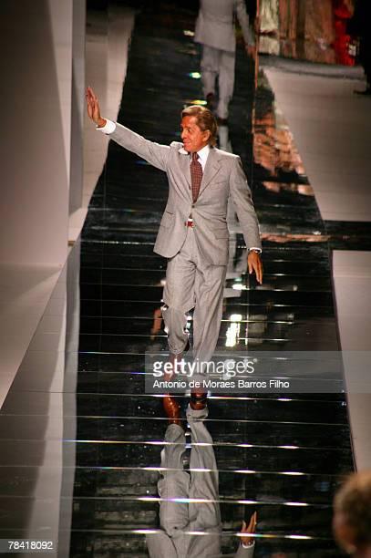 Designer Valentino Garavani walks the catwalk at the end of his fashion show during Paris Fashion Week Ready to Wear Spring/Summer 2008 October 3,...