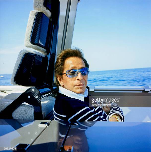 Designer Valentino is photographed for Vanity Fair Magazine on May 30, 2004 on the tender to T. M. Blue One, off the coast of St Tropez, France....