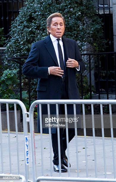 Designer Valentino is seen at the funeral of fashion designer Oscar De La Renta at St Ignatius Of Loyola on November 3 2014 in New York City