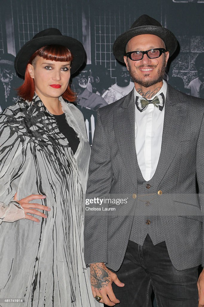 Designer Valerj Pobega (L) and Frank LA collaborating artist Mattia Biagi arrive at the Frank LA Issue release celebration 'No. 001 - No Place Like Home' benefitting LAMP community on July 23, 2015 in Los Angeles, California.