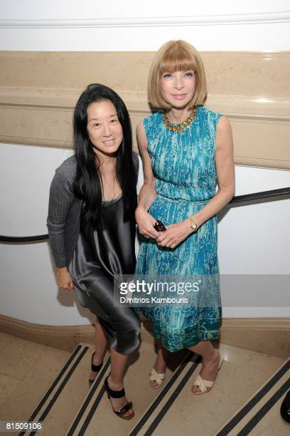 Designer Vera Wang and EditorinChief of Vogue Anna Wintour attend Tommy Hilfiger's engagement party hosted by Leonard and Evelyn Lauder at Neue...