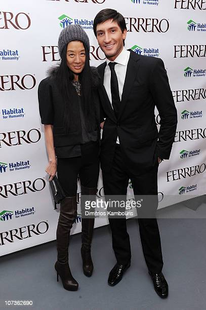 Designer Vera Wang and Figure Skater Evan Lysacek attend the Ferrero Chocolates Fashion Event at Top of the Rock's 620 Loft Garden on December 6 2010...