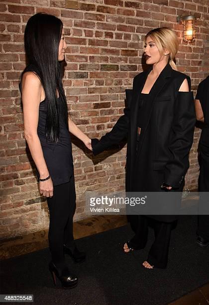 Designer Vera Wang and Kylie Jenner pose backstage at Vera Wang Spring 2016 during New York Fashion Week at Cedar Lake on September 15 2015 in New...