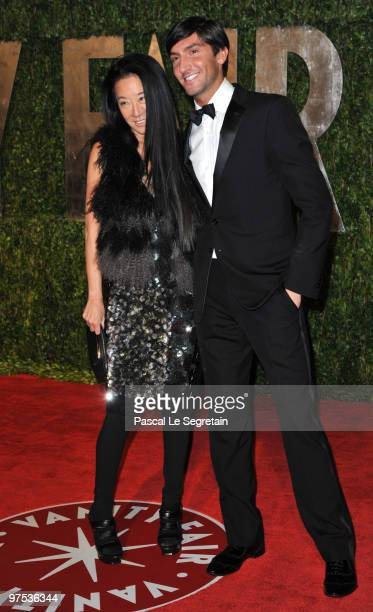 Designer Vera Wang and Olympic Gold Medalist Evan Lysacek arrive at the 2010 Vanity Fair Oscar Party hosted by Graydon Carter held at Sunset Tower on...