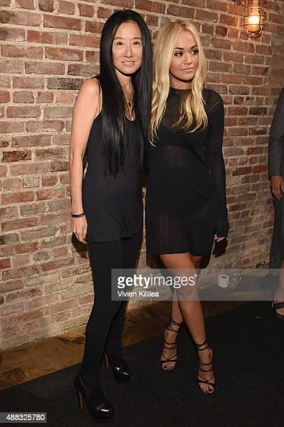 Designer Vera Wang and singer Rita Ora pose backstage at Vera Wang Spring 2016 during New York Fashion Week at Cedar Lake on September 15 2015 in New...
