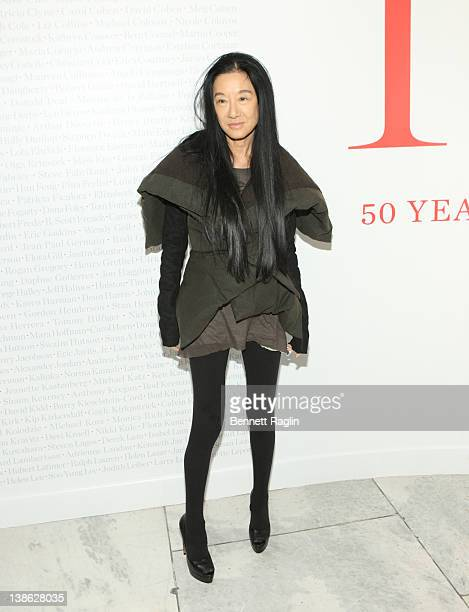 Designer Vera Wang attends the exhibition opening night gala for Impact 50 Years of the CFDA at The Fashion Institute of Technology on February 9...