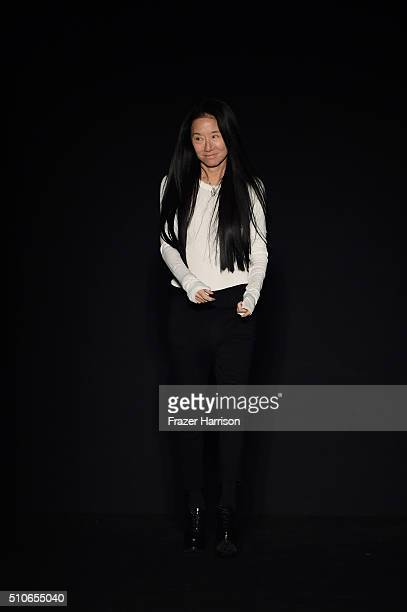 Designer Vera Wang greets the audience from the runway at Vera Wang Collection Fall 2016 during New York Fashion Week The Shows at The Arc Skylight...