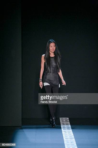 designer Vera Wang greets the audience on the runway at the Vera Wang Collection September 2016 New York Fashion Week The Shows Spring 2017 at The...