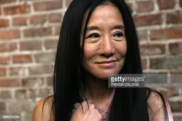 Designer Vera Wang pictured backstage after her presentation during New York Fashion Week in New York, Tuesday, September 15, 2015. AFP PHOTO/TREVOR...